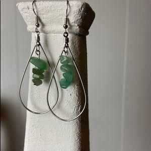 green stone hoop handmade earrings